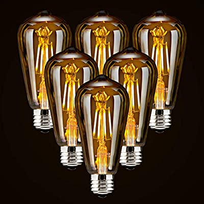 LED Dimmable Edison Light Bulbs 4W Vintage Light Bulb, 2200K-2400K Warm White (Amber Glass), Antique Style LED Edison Bulbs, Squarrel Cage Filament,ST64, E26 LED Bulb Base (4W- 6 Pack)