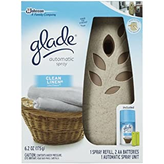 Glade Automatic Spray Refill and Holder Kit, Air Freshener for Home and Bathroom, Clean Linen, 6.2 Oz