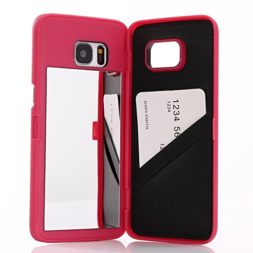 Galaxy S7 Edge Case,Wetben Hidden Back Mirror Wallet Case with Stand Feature and Card Holder for Samsung Galaxy S7 Edge G9350 (Rose)