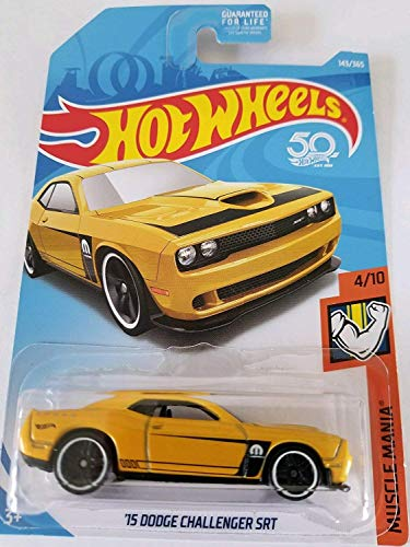 Hot Wheels 2018 50th Anniversary Muscle Mania '15 Dodge Challenger SRT 143/365, Yellow ()