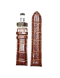 24mm Brown Both Layer Geninue Leather Same Color Stitching Calf Skin Watch Band Replacement Spring Bar Included Deployment Clasp WB1037B24GB