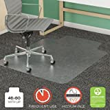 deflecto SuperMat Frequent Use Chair Mat, Rectangle, 46'' x 60'', Medium Pile, Lip, Clear