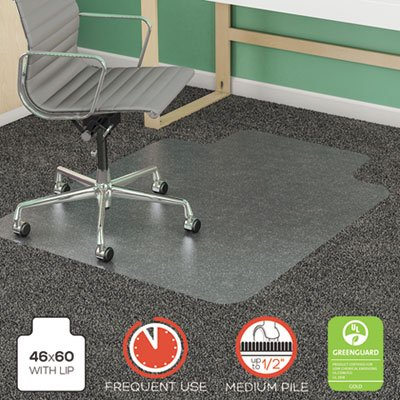 deflecto SuperMat Frequent Use Chair Mat, Rectangle, 46'' x 60'', Medium Pile, Lip, Clear by Deflecto