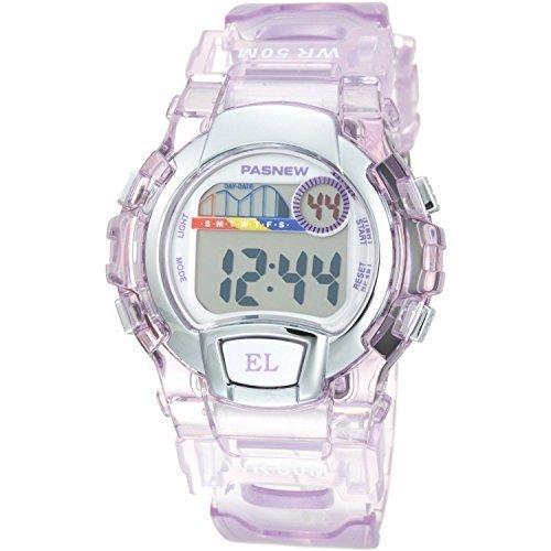 Water Resistant Swimming Led Digital Sport Watch for Boys Girls (Purple)