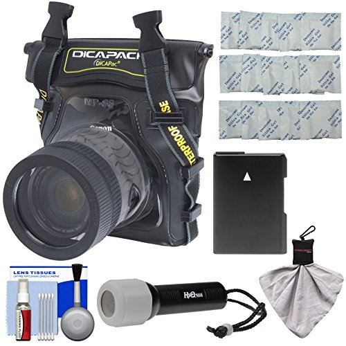 DiCAPac WP-S5 Waterproof Underwater Housing Case with EN-EL14 Battery + LED Torch Kit for Nikon D3300, D3400, D5300, D5500. D5600 Digital SLR Cameras (Dicapac Waterproof Dslr Camera Case Wp S10)