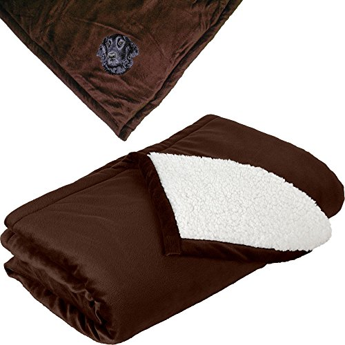Brown Flat Coated Retriever - Cherrybrook Dog Breed Embroidered Mountain Lodge Reversible Blanket - Brown - Flat Coated Retriever