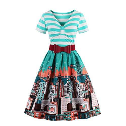 Wellwits Women's V Neck Starry Night Swing Cocktail Dress with Belt Cyan S]()