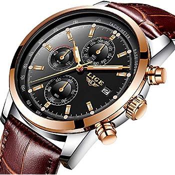 Watches Mens,Analog Quazrt Waterproof Watch Leather Sport Wrist Watch Man Luxury Brand LIGE Business Dress Rose Gold Black Clock