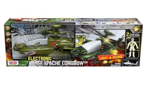Motor Max Battle Zone Electronic Ah-64 Apache Longbow with Two Poseable Figures Diecast Aircraft,, ()