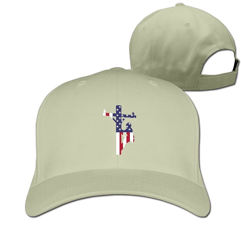 American Flag Lineman Unisex Sandwich Snapback Cap Solid Color Hats ... e7a067bdd50