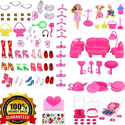 WNOLTEAB Doll Accessories for Barbie, Kid Doll Furniture Doll Kitchenware,Doll Decoration Crown Bicycle Stroller Stand Doll Hanger Bag,Doll Shoes Toy Accessories Furniture for Barbie Doll