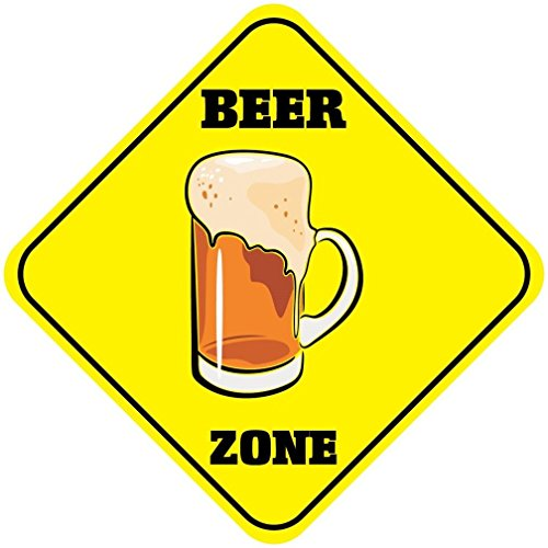 - NewFDeals Beer Zone Crossing Funny Metal Aluminum Novelty Plate Gift Sign for Home/Man Cave Decor - 12