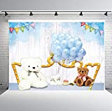 PHMOJEN Cute Teddy Bears Photography Backdrop Theme Birthday Party Background for Baby Children Blue Balloons Vinyl 10x7ft Photo Studio Props HXPH139