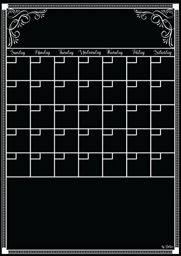 Detier Dry Erase Calendar - Flexible Magnet Board for Refrigerator 12 X 16.5 Inches Vertical Large Magnetic Organizer - Smooth Glossy Black Surface - Daily Weekly Monthly Planner - 2016 Design (Black Magnetic Fridge Organizer compare prices)