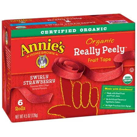 Annie's Organic Really Peely Fruit Tape Swirly Strawberry 6 ct 4.5 oz