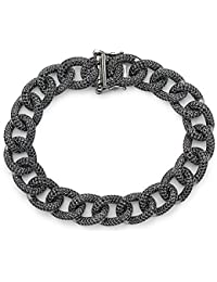 Rhodium Black Crystal Link Bracelet | 925 Sterling Silver Women's Link Bracelet with Rhodium and Black Crystals...