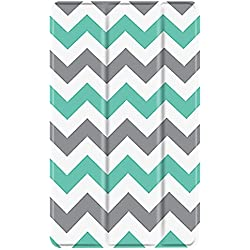 TNP Slim Case for All-New Amazon Fire 7 Tablet (7th Generation, 2017 Release), Ultra Lightweight Slim Shell Standing Cover with Auto Wake / Sleep (Chevron Teal)