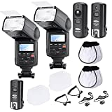 Neewer Professional Speedlite E-TTLHigh-Speed Sync Flash Kit for CANON Rebel T4i T3i T3 XS T2i T1i Xsi Xti, EOS 650D 600D 1100D 1000D 550D 500D 450D 400D 5D Mark III 5D Mark II 7D 60D 50D 40D 30D DSLR Cameras, Includes: 2 Neewer Pro E-TTL Auto-Focus Flash + 2.4GHz Wireless Trigger (1 Transmitter, 2 Receivers)+ 2 Cables(C1-Cord + C3-Cord Cables) + 2 Hard & 2 Soft Flash Diffuser + 2 Lens Cap Hol