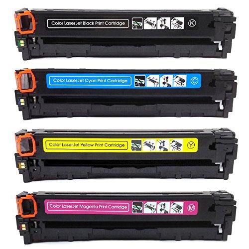 Compatible for HP 125A Toner Cartridges CP1215 CP1518ni CP1515n CM1312nfi CM1312 MFP Series Hewlett-Packard Printer Black Yellow Magenta Cyan (4pk (Series Yellow Compatible Toner)