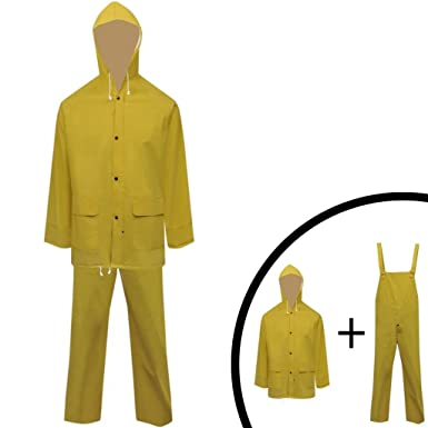 vidaXL Regenanzug Regenjacke PVC Regenhose Regenkombi Nässeschutz Kapuze Gelb M# Angelsport
