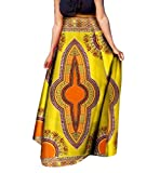Abetteric Womens Big Pendulum Half Skirt African Print Dashiki Casual Long Skirt 11 4XL