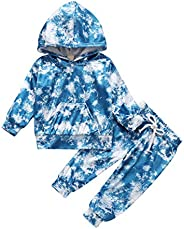 goowrom 2PCS Winter Baby Boys Girls Outfit Infant Velvet Tie Dye Hoodie Sweater Trousers Clothes Outfits