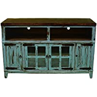 60 Turquoise Scraped TV Stand Console With Glass Doors