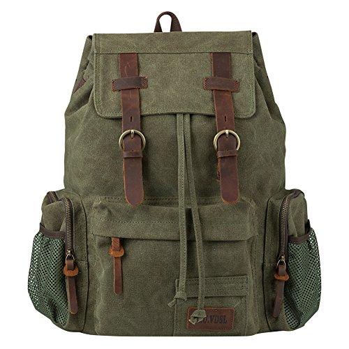 (P.KU.VDSL Vintage Canvas Backpack for Women, Leather Backpack for Men, Casual Bookbag for School Travel Hiking 25L, Fit 17'' Laptop)
