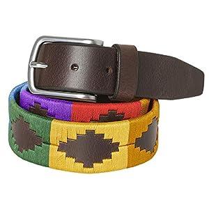 PELPE - Cinturón argentino de piel, con pulsera de hilo y cuero a juego. Cinturón bordado sobre cuero, para hombre y… | DeHippies.com
