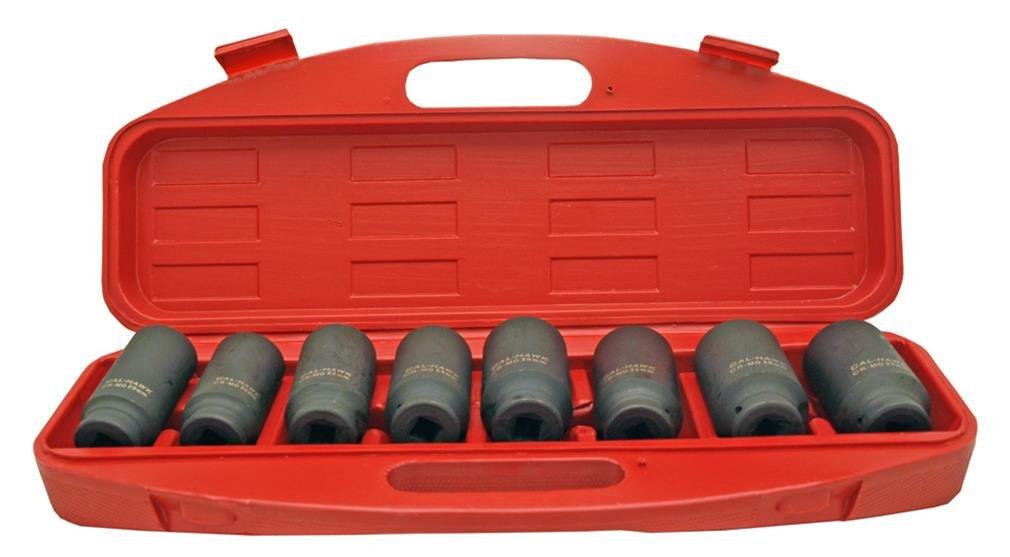 Cal Hawk Tools BSSAN8P 8 Piece 1/2'' Drive Deep Spindle Axle Nut Socket Set