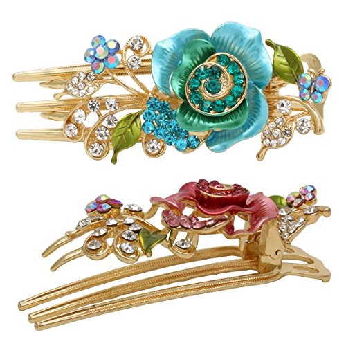 Price comparison product image Fashion & Lifestyle Set of 2 Metal Alloy Alligator Sectioning Clips for Women and Girls - Pretty Strong Clamp Hair Pins Non-Slip Hair Grips Accessories for Thick Hair, Blue and Pink