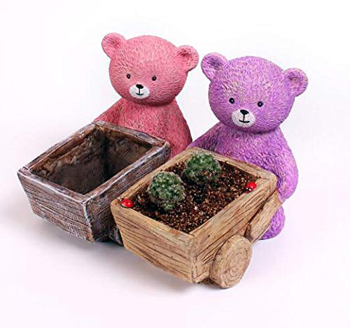 Handmade 4 PCS Set Bear Flower Pot 5.5 Inch Plant Pot Succulent/Cactus Planter Pots Container Bonsai Planters with A Hole Perfect Idea