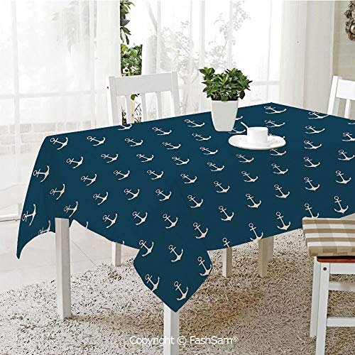 FashSam Tablecloths 3D Print Cover Nautical Pattern with Classic Colors and Anchors Simplistic Design Sailor Ship Print Decorative Party Home Kitchen Restaurant Decorations(W60 xL84) ()