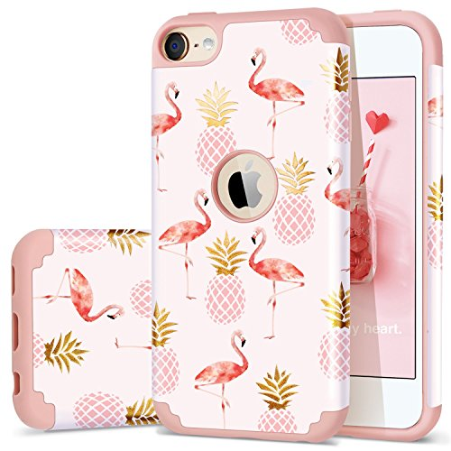 iPod Touch 5 Case,iPod Touch 6 Case Summer,Fingic Pineapple&Flamingos Pattern Cute Case Hard PC&Soft Silicone Case for Girls Cover for iPod Touch 5/6,Pink