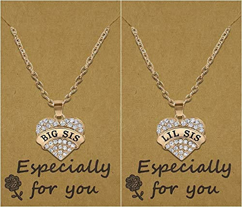 Girls Teens Big Sis & Lil Sis Heart Necklace Set, 2 Sister Necklaces, Big & Little Sisters Best Friends BFF Jewelry gifts, Stocking Stuffer Ideas, Granddaughter Presents for Christmas (Rose Gold Tone) -