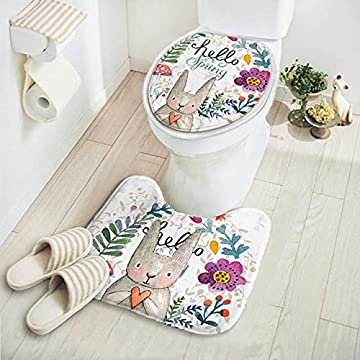 2pcs/set New Cut Cartoon Animal Pattern Bathroom Set Carpet Absorbent Non-Slip Pedestal Rug Lid Toilet Cover Bath Mat - A