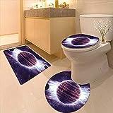 3 Piece Toilet mat Set Space Theme Planets Saturn Mars and Neptune Science Fiction Solar Scene Artprint Mauve 3 Piece Shower Mat Set