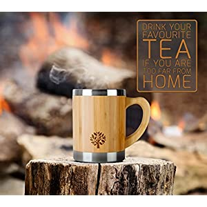 Stainless Steel & Bamboo Coffee Mug - Insulated Wooden Cup with Handle & Lid - Non-Spill On the Go - Keep Your Tea Hot Longer - Unique Gift for Men & Women - 13.5 oz / 400 ml
