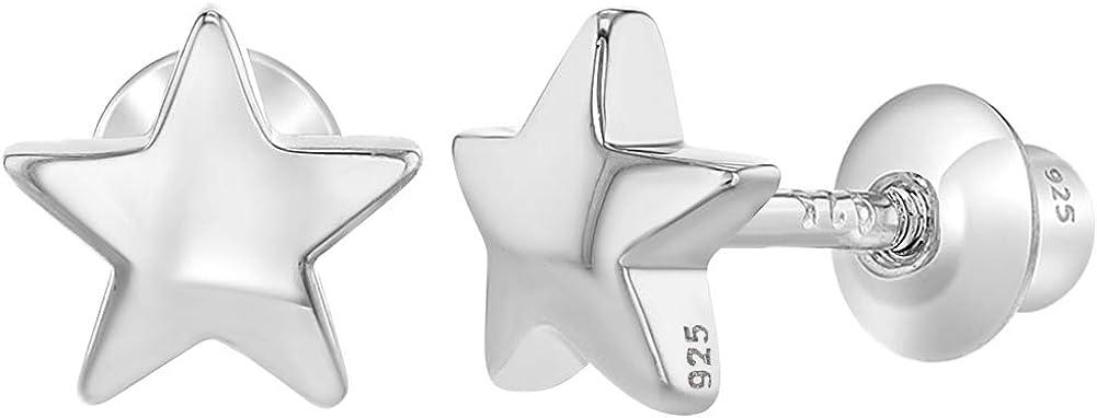 Pendientes con tornillo trasero, hechos de plata fina de ley 925, con forma de estrella pequeña, buen regalo para niñas