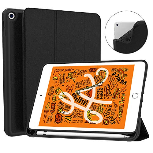 Soke iPad Mini 5 Case 2019 with Pencil Holder,Premium Trifold Case with Strong Protection, Ultra Slim Soft TPU Back Cover with Auto Sleep/Wake Function for New Apple iPad Mini 5th Gen(Black)