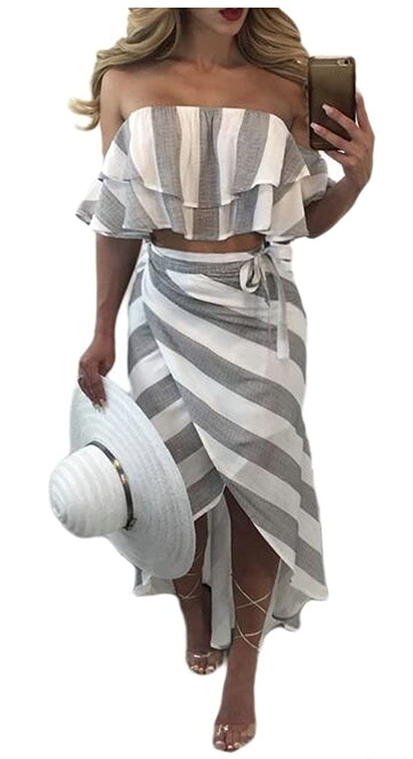 EKU Womens Stripe Printed Summer Crops Tops and Skirt Beach Two Piece Set