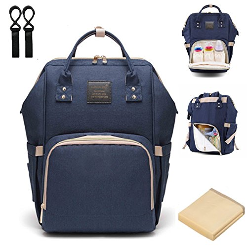 Diaper Bag Backpack, Multi-Function Waterproof Baby Nappy Changing Bag with Insulated Bottle Pocket, Durable Stylish & Large Capacity (Dark Blue)