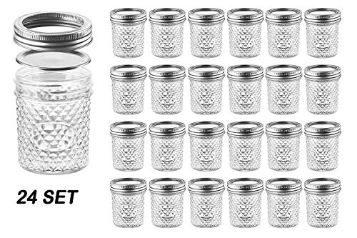 (Nellam Quilted Glass Jars with Lids - 6 OZ Wide Mouth Crystal Jelly Glasses, Set of 24 Silver, for Canning, Preserving Food - each Mini Mason Jar is Freezer, Microwave,)
