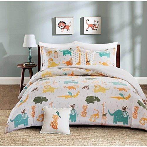 4 Piece Multi Jacala Zoo Animal Theme Duvet Cover Full Qu...