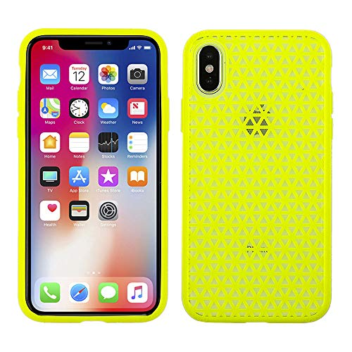 Mesh Case Hybrid Cover - Cube Apple iPhone X Hybrid TPU Case - Yellow Mesh