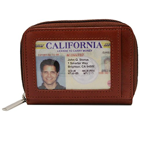 on Wallet-Sleek Zippered Italian Leather Wallet-Has 10 Slots, ID Window & Exterior Zippered Coin Pocket-Holds 20 Cards & Bills-Brown Color-4