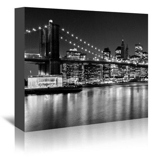 Americanflat Night Skyline Manhattan Brooklyn Bridge Monochrome Gallery Wrapped Canvas Print by Melanie Viola, 5