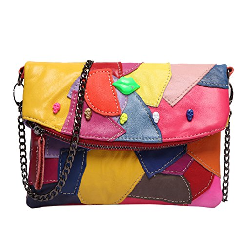 Sibalasi-Women Colorblock Lambskin Leather Multicolor Crossbody Bag Black Handbag Halloween Skull Studded Purse(AMulticolor)