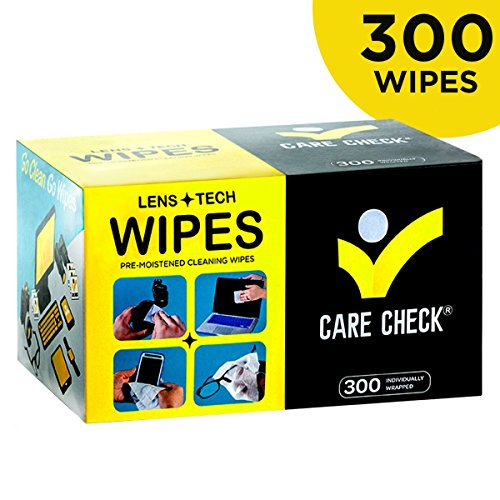 Tech Check (Care Check Lens Wipes, 300 Pre-Moistened Cleaning Wipes for Cameras, Laptops, Cell Phones, Eyeglasses, Other Screens and More)