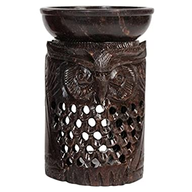 Hosley's 4.5  High Owl Soapstone Oil Warmer - Brown. Ideal for spa and aromatherapy. Use with HOSLEY brand wax melts / cubes, essential oils and fragrance oils.